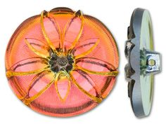 Czech Glass Orange Foiled FloralButton from Artbeads.com