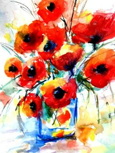 Floral Watercolor, Watercolor Paintings, Animals, Art, Poppy, Painting Art, Art Background, Animales, Water Colors