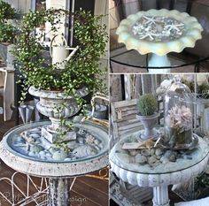 Easy to Make Glass Top Display Table...   To add some summer whimsy outside, or as bedside tables in the 'beach' bedroom!