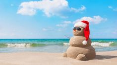 Sandy christmas snowman in red santa hat and sunglasses at sunny beach. Holiday concept for New Years Cards. Merry Christmas, Summer Christmas, Christmas Countdown, Christmas Snowman, Christmas Crafts, Christmas Ideas, Hollywood Beach Hotels, Sand Snowman, Australian Christmas