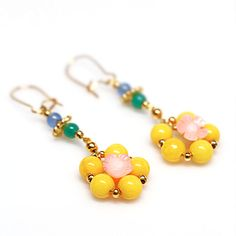 Yellow Gemstone Gold Earrings Colorful Dangle by TorikaEnergetics, $17.00
