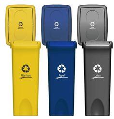 Contenedores de reciclaje de 53 litros de capacidad cada uno, disponible en 6 colores. Con tapa vaivén y estampado según material a reciclar. Usb Flash Drive, Water Bottle, Drinks, Recycling Bins, Tin Cans, Creativity, Colors, Budget, Water Flask