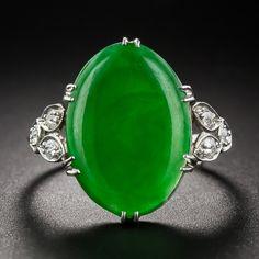 Vintage Jade Platinum Diamond Ring  #langantiques #jade