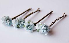 Light blue roses bobby pins set of 4, bohemian wedding hair accessories, something blue  flower bobby pins. $9.00, via Etsy.