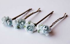 Light blue roses bobby pins set of 4, bohemian wedding hair accessories, something blue  flower bobby pins. $9.00, via Etsy.