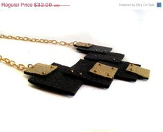 30 OFF SALE Statement necklace in black and gold by julishland, $22.40