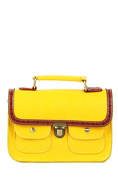 Yellow leather satchel bag.