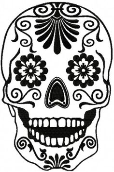 Online center for machine embroidery designs. On this site you can find machine embroidery designs in the most popular formats, with a new free machine embroidery design each month. Free embroidery projects, tips and tutorials are also available. Sugar Skull Stencil, Sugar Skull Design, Sugar Skull Art, Sugar Skulls, Machine Embroidery Designs, Embroidery Patterns, Henna Patterns, Skull Template, Skull Coloring Pages