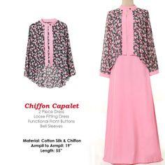 Ruffle Neckline Islamic Fashion Abaya Long Sleeves by MissMode21, $29.00