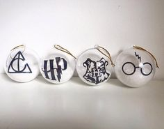Set of 4 Harry Potter Christmas Ornament Bauble by xHandmadeByAmyx