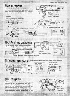 Imperial Guard Weapons - Necromunda - Warhammer 40K - GW Warhammer 40k Rpg, Warhammer Fantasy, 40k Imperial Guard, Warhammer Imperial Guard, Focke Wulf 190, Sci Fi Weapons, Aircraft Design, Technical Drawing, Model Airplanes