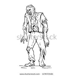 Drawing sketch style illustration of zombie, a fictional undead being created through the reanimation of a human corpse, walking viewed from front. Sketch Style, Drawing Sketches, Drawings, Royalty Free Stock Photos, Horror, Walking, Color Art, Demons, Illustration