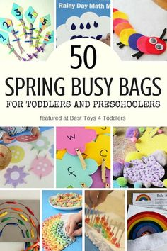 50 quiet time activities for toddlers and preschoolers to try this spring Best Toys 4 Toddlers - 50 Spring Busy Bags for Toddlers and Preschoolers featuring activities with flowers, bugs, weather, rainbow and Quiet Time Activities, Spring Activities, Holiday Activities, Family Activities, Toddler Preschool, Toddler Activities, Preschool Activities, Indoor Activities, Toddler Games