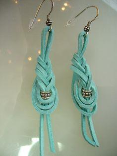 RAWHIDE BLUES Earrings Leather Jewelry Bali Silver by rlady391, $35.00