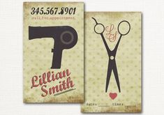 Hair Salon Business Card - Calling Card - Appointment Card - Vintage Blow Dyer and Scissors