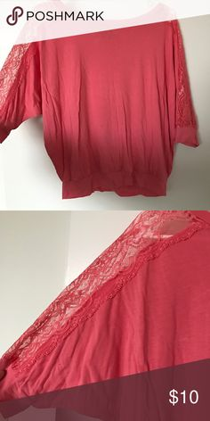 Pink shirt with lace sleeve detailing Pink shirt with lace sleeve detailing Forever 21 Tops