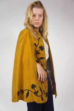 1960s Psychedelic Suede Leather Mustard Cape by HillPeople