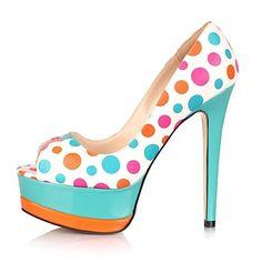 ARS $1049 Zapatos Pumps Heels Multicolor Primavera Verano 2014 a Lunares y Plataforma Color Verde Turqueza y Naranja!