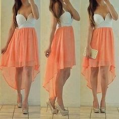 Coral and white strapless hi-lo dress