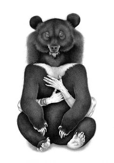 Moon Bear, Or How To Embrace Your Emotional Self art print Event Invitation Design, Moon Bear, Arches Paper, Black Bear, How To Draw Hands, Art Prints, Wallpaper, Drawings, Graham