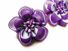 Vintage Mad Men Style Earrings Purple Silk Flower by MyChouchou, $9.50
