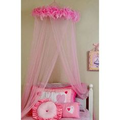 Create a bedroom fit for a princess with this darling pink canopy. Embellished with hot pink faux feathers this canopy adds an adorable addition to any ...  sc 1 st  Pinterest & Create a dreamy look that is fit for a princess with this girlu0027s ...