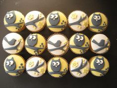 yellow owl and bird cupcakes by hello naomi, via Flickr- except I need these hot pink, yellow, purple, blue