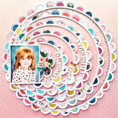 New layout with a process video using Pick-Me-Up and sharing how to quickly & easily back my scalloped concentric circles… Circle Scrapbook, Baby Scrapbook, Travel Scrapbook, Scrapbook Cards, Scrapbook Storage, School Scrapbook, Wedding Scrapbook, Disney Scrapbook, Scrapbook Designs