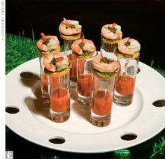 Among the trendy appetizers were spicy shrimp shooters to tempt the guests' palates.