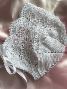 Crochet lacy baby bonnet christening baptism blessing heirloom infant girl clothing newborn to three month old romantic Baby Crochet Baby Bonnet, Crochet Baby Booties, Crochet Hats, Baby Knitting Patterns, Crochet Patterns, Baby Bonnet Pattern, Crochet Baby Blanket Beginner, Baby Bonnets, Thread Crochet