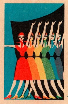 Vintage Soviet beauties adorn a match box screen printed illustration.