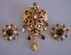 "Stunning Vintage Jewelry  -  FLORENZA gold tone dangles 2-3/4"" brooch with red rhinestones and artificial pearls and matching 1"" earrings."