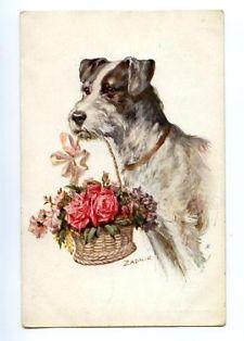 148222 Wire FOX TERRIER Roses in Basket