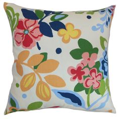 A lovely addition to your living room sofa or master suite bed, this stylish cotton pillow features a bold floral motif.   Product: ...
