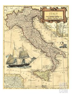 Italy Map Premium Giclee Print by Vision Studio. Save up to 40% for a limited time at Art.com.