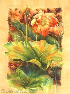 Deborah Younglao lotus flower silk painting