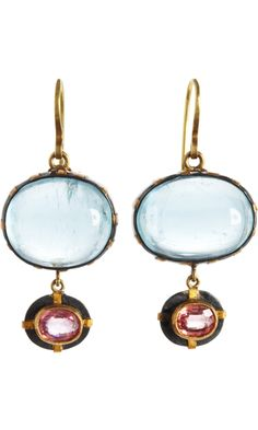 Judy Geib Aquamarine & Orange Sapphire Blush Beautiful Earrings