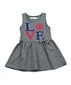 Gray 'Love' Sleeveless Dress - Toddler & Girls