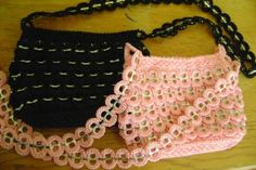 This is a crochet tab top purse. The purse is fully lined with an inside zipped pocket. It is 8 1/2  long, 6 tall and the strap is 36 long. This is a