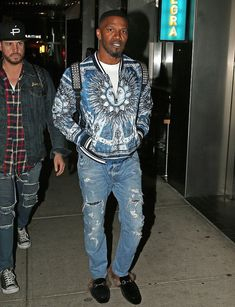 ICYMI: Jamie Foxx Steps Out In NYC Wearing Dolce & Gabbana Jacket And Gucci Fur Slippers