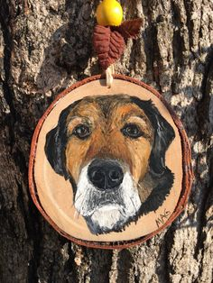 Hand Painted Pet Portrait on Wood Slice Mini by TheBackyardBear Wood Slices, You're Awesome, Pet Portraits, Painting On Wood, Your Pet, Cool Photos, Arts And Crafts, Unique Jewelry, Handmade Gifts