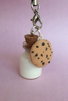 Polymer clay cookie and milk charm cookie charm by KawaiiCreationz, $7.50