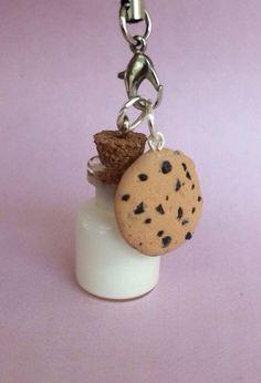 Polymer clay cookie and milk charm cookie charm by KawaiiCreationz, $7.50