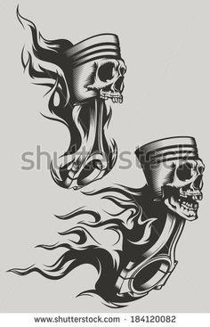 Afbeeldingen, stockfoto's en vectoren van Engine Pistons Tattoo Harley Tattoos, Biker Tattoos, Motorcycle Tattoos, Skull Tattoos, Body Art Tattoos, Tattoo Drawings, Tribal Tattoos, Sleeve Tattoos, Motorcycle Gear