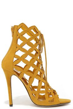 5b5d74ea87d7ac Lattice Effect Mustard Yellow Suede Lace-Up Heels