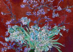 david bridburg,vincent van gogh,van gogh,almond blossoms,bridburg,blossoms,blossom,flowers,green,white,red background,garden,plants,plant,blossom stems,petals,flower bud,flower buds,bloom,flowers blooming,blooming,roses and irises,tree,leaves,branch,almond tree,almond tree in red,van gogh's almond blossoms recreated,collage of flowers using van gogh's art,collage of flowers using van gogh's artwork,new art using van gogh's art,inventive work using van gogh's artwork,gift,christmas