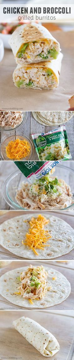 Chicken and Broccoli Grilled Burritos - Super quick to make and lunch box friendly. Perfect for those busy school days!