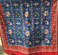 Madhvi handicrafts Blue red double ikat dupatta patan patola  Whatsapp:09638091196