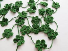 Dark Green Flower Crochet Scarf-READY FOR SHIPPING by knittingshop