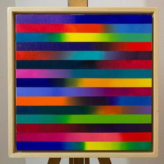 CHROMATICA 01 -  acrylic on canvas - 13x13 in. -  bright colorful geometric wall art - minimal abstract - framed original painting